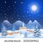 winter snowing village and... | Shutterstock .eps vector #332034962