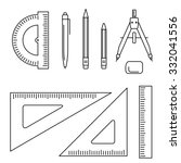 vector line icons of drawing... | Shutterstock .eps vector #332041556