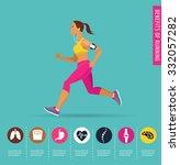 woman running  jogging  ... | Shutterstock .eps vector #332057282