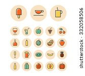 thin line icons for food and...