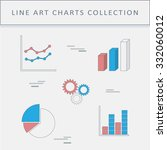 set of line icons graphs and