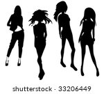 black silhouettes of beautiful... | Shutterstock .eps vector #33206449