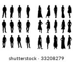 silhouettes of man and woman | Shutterstock .eps vector #33208279