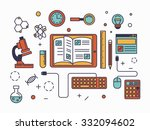 power of knowledge and computer ... | Shutterstock .eps vector #332094602