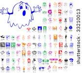 set of halloween sketches. part ... | Shutterstock .eps vector #33210013