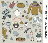 hand drawn cute vector winter... | Shutterstock .eps vector #332103662