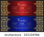 red and blue voucher with gold...   Shutterstock .eps vector #332104586