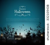 halloween background with old... | Shutterstock .eps vector #332105438