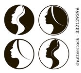 female vector badges or icons... | Shutterstock .eps vector #332129396