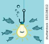 light bulb on a fishing hook ... | Shutterstock .eps vector #332138312