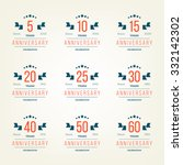 vector set of anniversary signs ... | Shutterstock .eps vector #332142302