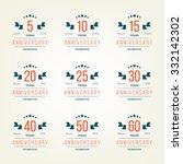 vector set of anniversary signs ... | Shutterstock .eps vector #332142302