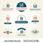 vector set of anniversary signs ... | Shutterstock .eps vector #332142338