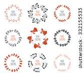 set of nine decorative elements ...   Shutterstock .eps vector #332155535