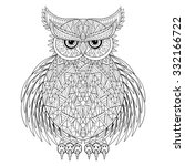 Hand Drawn Zentangle Owl  Bird...
