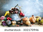 basket with chestnuts and...   Shutterstock . vector #332170946