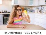 beautiful little girl with... | Shutterstock . vector #332174345