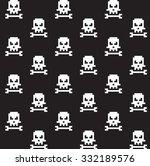 pixel art skull and bone... | Shutterstock .eps vector #332189576