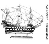 Sailing Ship Model. Hand Drawn...