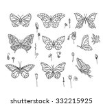 set with different butterflies. ... | Shutterstock .eps vector #332215925