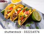mexican food   delicious tacos... | Shutterstock . vector #332216576