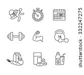 Bodybuilder, health, fitness and running thin line art icons set. Modern black symbols isolated on white for infographics or web use.