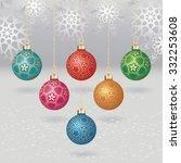 vector christmas balls with... | Shutterstock .eps vector #332253608