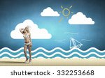 beautiful blond girl in hat and ... | Shutterstock . vector #332253668