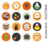 Halloween Vector Flat Icon Set...