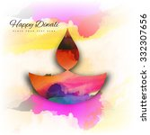 beautiful happy diwali colorful ... | Shutterstock .eps vector #332307656