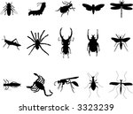 various insects silhouettes | Shutterstock .eps vector #3323239