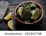 vine leaves with meat and rice... | Shutterstock . vector #332341748