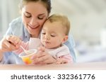 young mother helping baby girl... | Shutterstock . vector #332361776