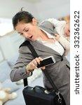 busy businesswoman running late ... | Shutterstock . vector #332362622