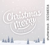 vintage christmas greeting card ... | Shutterstock .eps vector #332368316