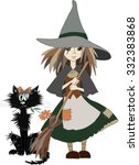 little witch and black cat ... | Shutterstock .eps vector #332383868