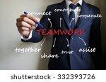 businessman writing teamwork ...   Shutterstock . vector #332393726