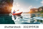 lady paddling the kayak in the... | Shutterstock . vector #332395928