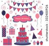 set of birthday icons   Shutterstock .eps vector #332400926