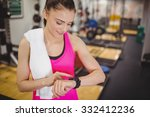 fit woman using her smartwatch... | Shutterstock . vector #332412236
