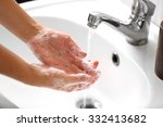 washing of hands with soap... | Shutterstock . vector #332413682
