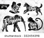Stock vector silhouettes of animal bird dog monkey elephant drawing black paint on background of dirty paper 332454398