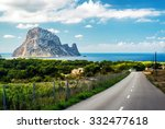 Small photo of Road to the Cala d'Hort beach. Cala d'Hort is a small, beloved beach with a fantastic view of the mysterious island of Es Vedra. Ibiza, Balearic Islands. Spain
