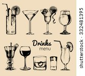 cocktails  drinks and glasses... | Shutterstock .eps vector #332481395