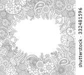 doodle flower pattern black and ... | Shutterstock .eps vector #332481596