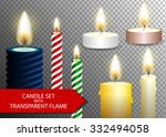 candle flame set on transparent ... | Shutterstock .eps vector #332494058