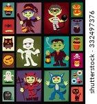 vintage halloween poster design ... | Shutterstock .eps vector #332497376