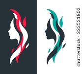 set of female profiles with... | Shutterstock .eps vector #332521802
