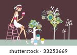girl painting trees on the wall | Shutterstock .eps vector #33253669