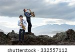 duet of young man and woman... | Shutterstock . vector #332557112